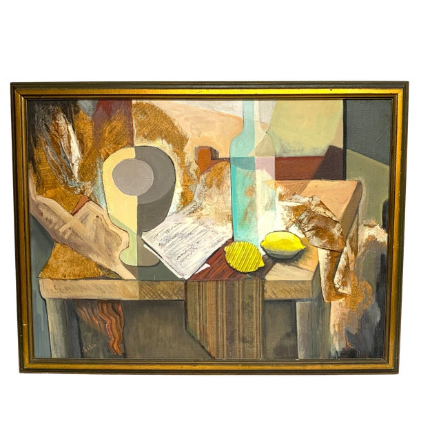 Mid Century Mixed Media Cubist Still Life Oil on Canvas For Sale