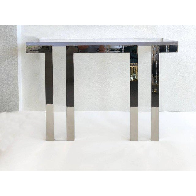 Charles Hollis Jones Polish Nickel and Lucite Console Table by Charles Hollis Jones For Sale - Image 4 of 6