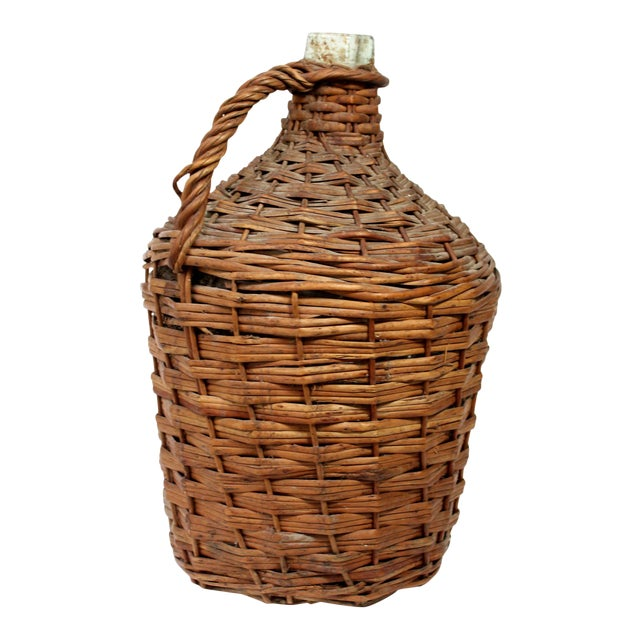 Antique Wicker Covered Glass Wine Jug With Handle For Sale