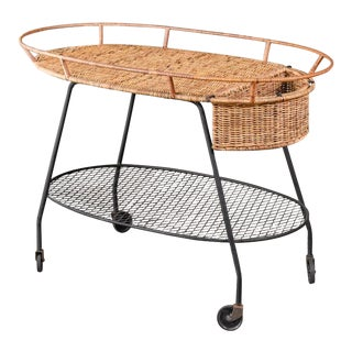 Rattan Serving Cart by Maurizio Tempestini for Salterini