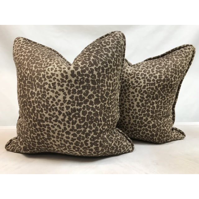 Schumacher Modern Schumacher Leopard Print Custom Pillows - a Pair For Sale - Image 4 of 4