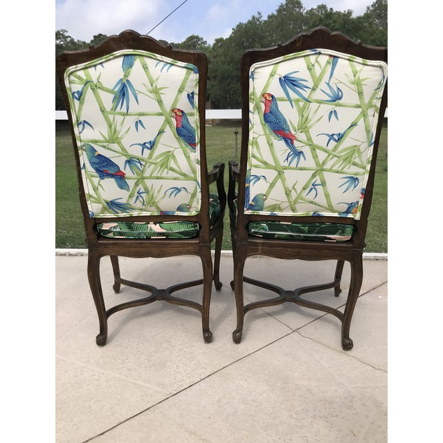 French Vintage Coastal Regency Custom Upholstered French Carved Chairs-A Pair For Sale - Image 3 of 13