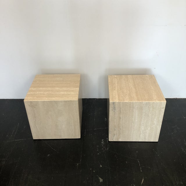 1980s Italian Marble Cube Side Tables - a Pair For Sale - Image 5 of 8
