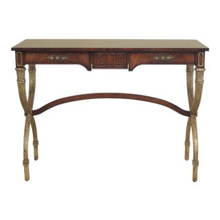 Neoclassical Mahogany & Gold Gilt Console Sofa Table For Sale