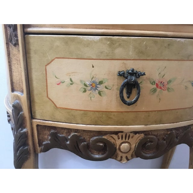 1940s French Style Night Stand With Hand Painted Flowers For Sale - Image 5 of 11