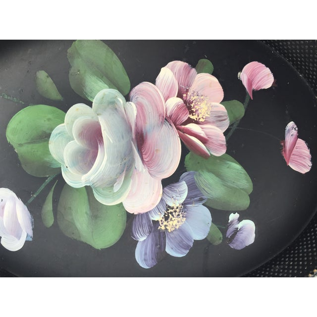 The most quaint little tole tray, hand-painted with flowers. The sides are a perforated metal mesh: very unique! The...