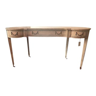 Maitland-Smith French Kidney-Shaped Cream Leather Writing Desk For Sale