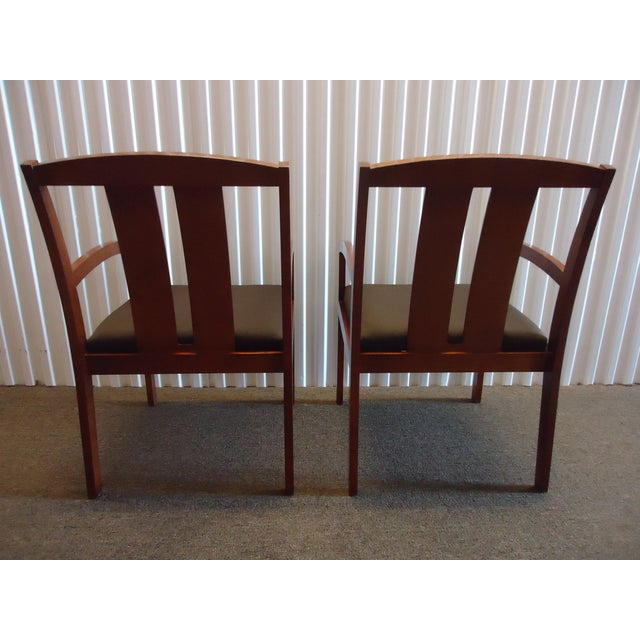 Kimball Dining Arm Chairs With Brown Fabric - Set of 4 For Sale In New York - Image 6 of 13