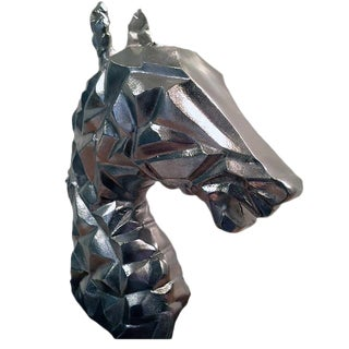 Over-Sized Silver Cubistic Horse Head Sculpture For Sale