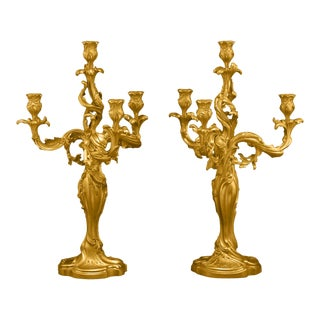 Pair Of 19th Century Doré Bronze Candelabra