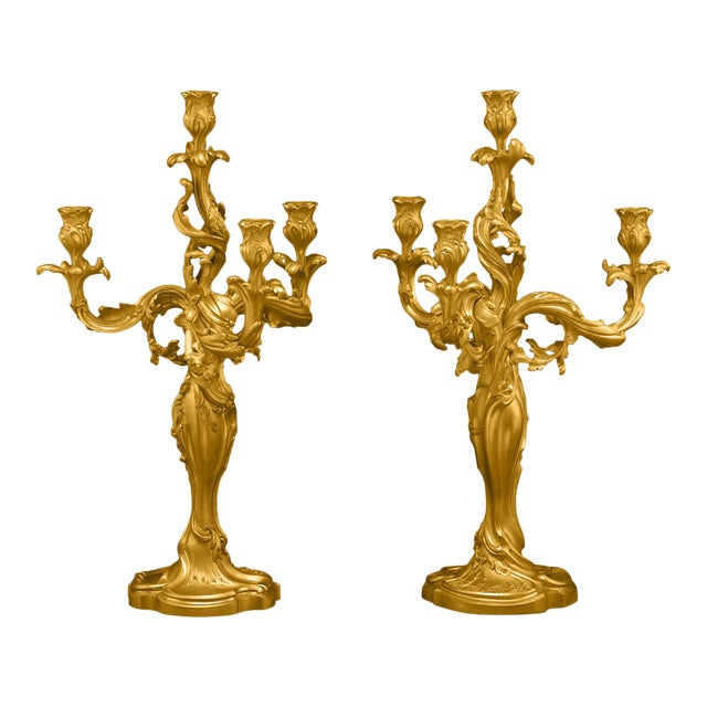 Pair Of 19th Century Doré Bronze Candelabra For Sale