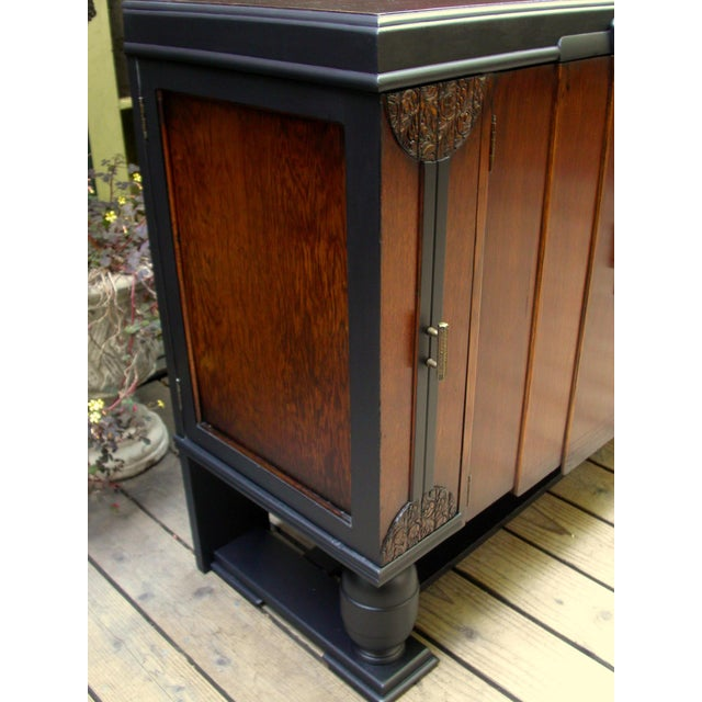 Early 20th-C. Oak & Black-Painted Liquor Cabinet - Image 4 of 11