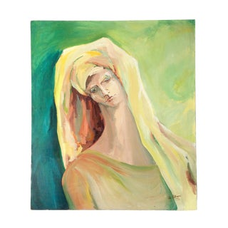 1970s Vintage Portrait of Woman in Green and Yellow - Large Original Painting on Canvas For Sale