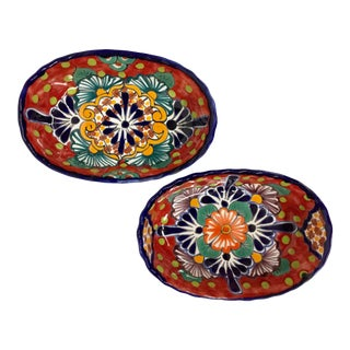 Mexican Bright Ceramic Condiment Bowls - A Pair For Sale