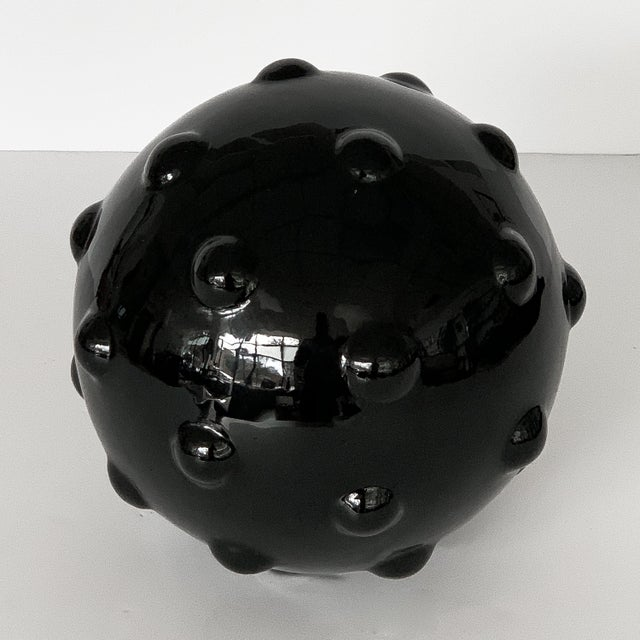 Abstract Monumental Obsidian Mine Sphere Sculpture For Sale - Image 3 of 7