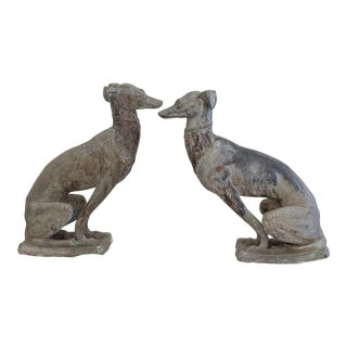 1920s English Garden Lead Whippets Statues - a Pair For Sale