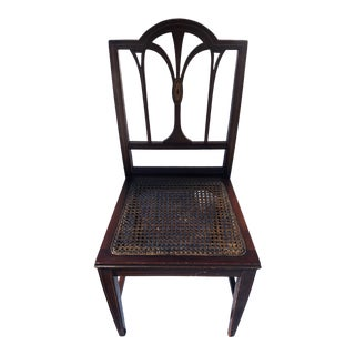 Vintage Inlaid Mahogany Desk Chair With Caning For Sale
