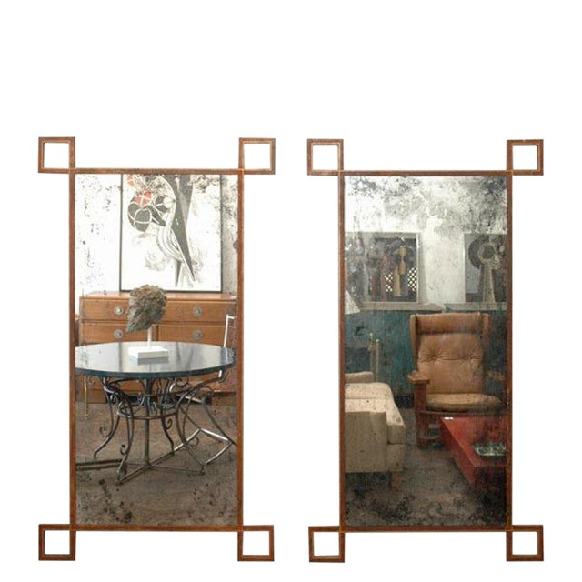 Contemporary Rouille Tall French Industrial Mirrors - a Pair For Sale