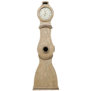 19th Century Swedish Painted Taupe and Grey Wood Grandfather Clock For Sale