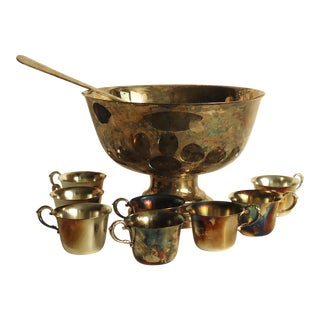 20th Century Traditional Tarnished Silverplated Large Punch Bowl Set - 10 Pieces For Sale