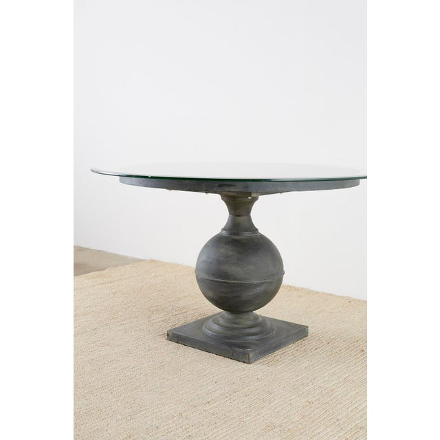 Neoclassical Patinated Metal Pedestal Dining or Centre Table For Sale - Image 4 of 13