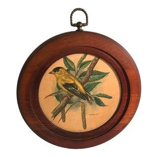 Mid Century Bird Print in Round Wooden Frame For Sale