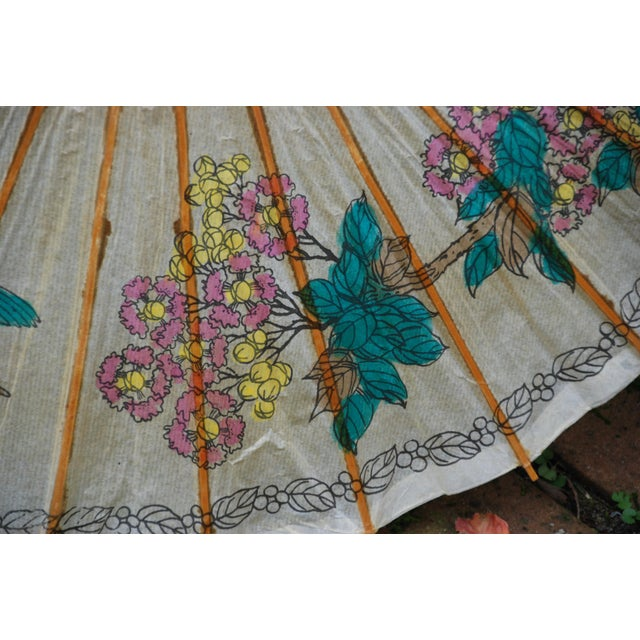 Vintage Asian Rice Paper Floral Umbrella - Image 5 of 10