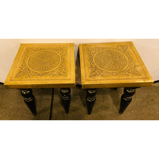 Brass top end side or lamp table square in Hollywood regency style- a pair. A chic pair of handmade end, side or lamp...