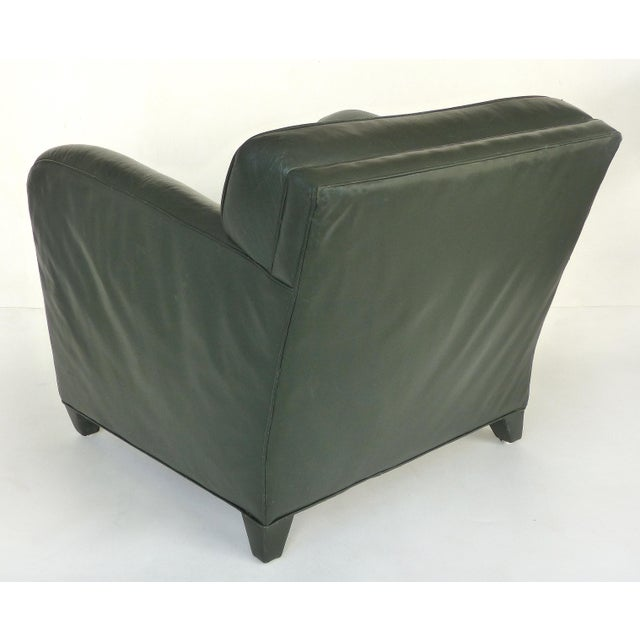 Donghia Leather Club Chairs From the Main Street Collection in Forest Green For Sale In Miami - Image 6 of 9