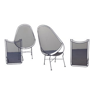 1960s Vintage Salterini High Back Lounge Chairs & Ottomans - Set of 4 For Sale