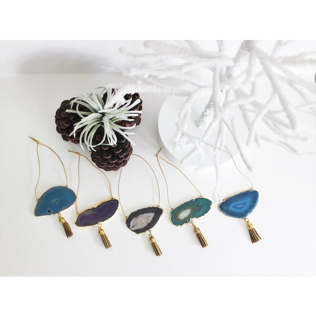 Set of 5 Gold Plated Assorted Agate Ornaments - Image 3 of 9