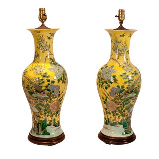 1915 China Republic Period Yellow Porcelain Table Lamps - a Pair