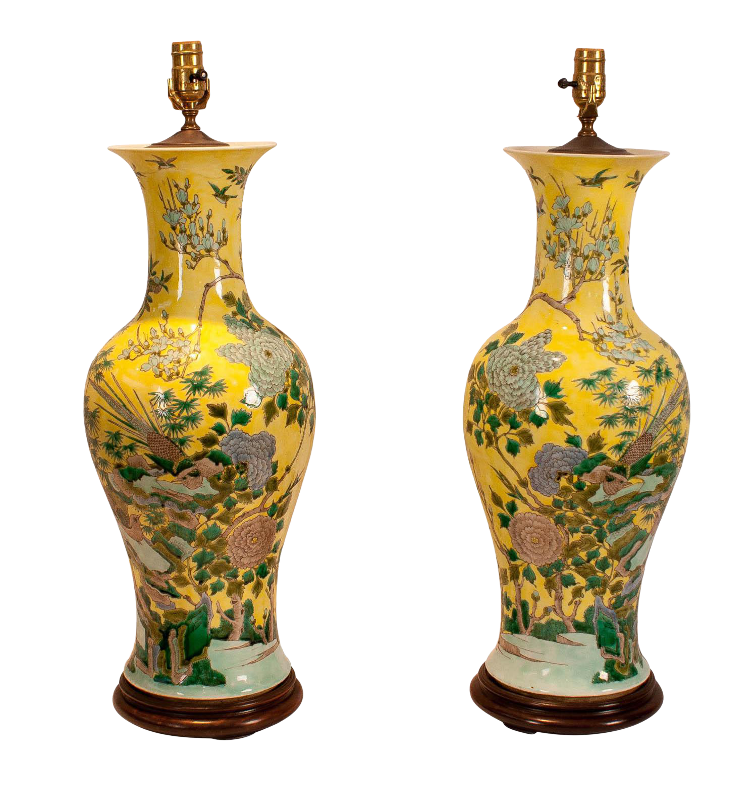 1915 China Republic Period Yellow Porcelain Table Lamps   A Pair For Sale