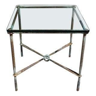 Brutalist Hand Hammered Steel Side Table For Sale