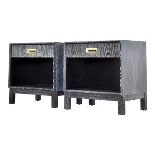Black Cerused Mid Century Modern Nightstands - a Pair For Sale