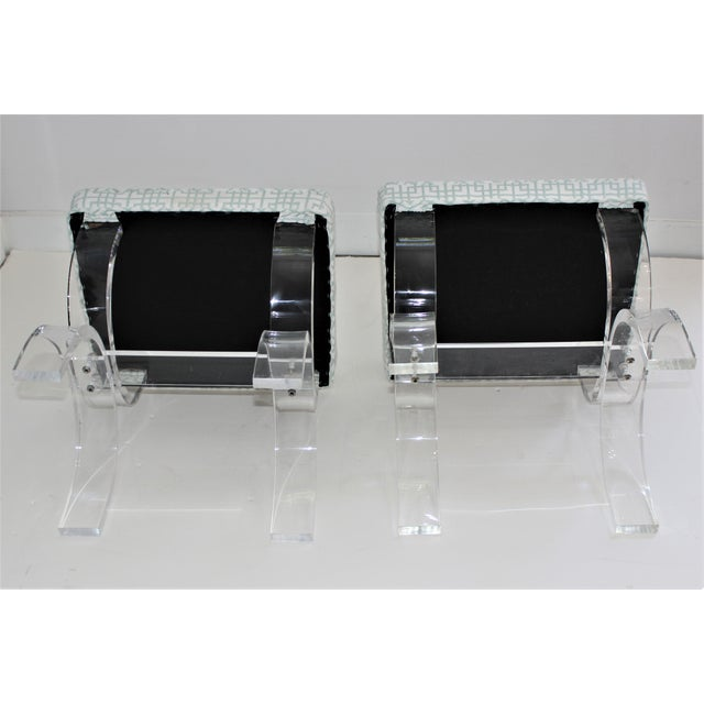 Transparent Hollis Jones Style Lucite U Benches Stools 1940s - Newly Upholstered - a Pair For Sale - Image 8 of 12
