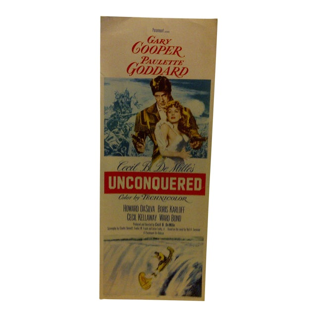 """Vintage Movie Poster """"Unconquered"""" Gary Cooper & Paulette Goddard - 1955 For Sale"""