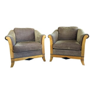 1970's Art Deco-Inspired Club Chairs - A Pair