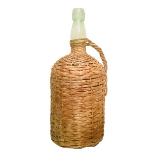 Large Vintage Demijohn Wicker Wrapped Bottle For Sale
