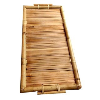 1970s Vintage Split Reed Handled Bamboo Serving Tray For Sale