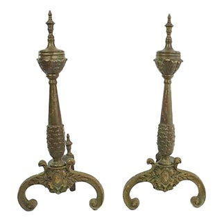 Antique French Bronze Andirons, Pr For Sale
