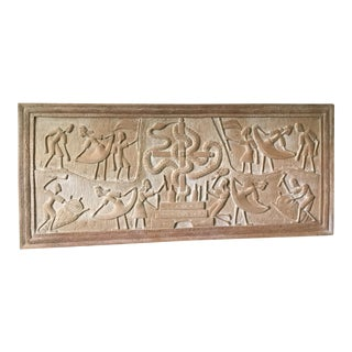 1970s African Haitian Creole Voodoo Ritual Wood Carved Relief For Sale