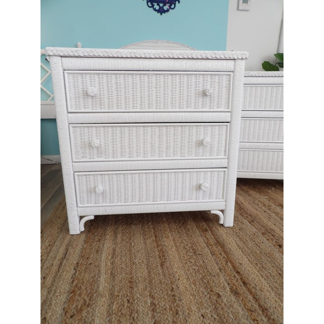 Pair of Henry Link 3 Drawer Chests in White Wicker. The pair are in great condition. I love this pair as they can work as...