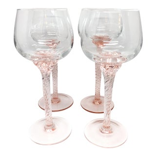 Vintage Twisted Blush Stem Wine Glasses - Set of 4
