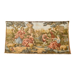 Vintage French Country Garden Scene Tapestry For Sale