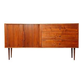Mid Century Tambour Door Sideboard For Sale