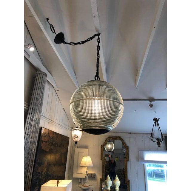Parisian Holophane Globe Pendant Chandelier For Sale - Image 4 of 13