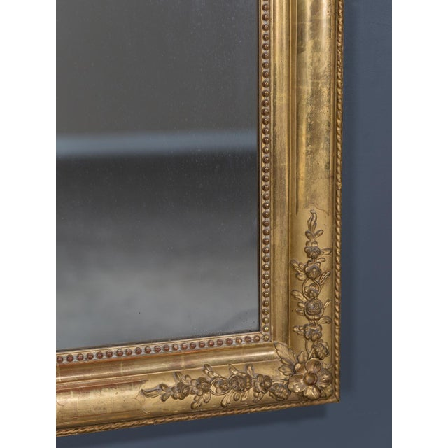 Etching Antique French Louis Philippe Gold Leaf Mirror circa 1870 For Sale - Image 7 of 10