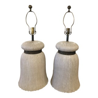 Vintage Chapman Hollywood Regency Chinoiserie Ceramic Tassel Table Lamps -A Pair For Sale