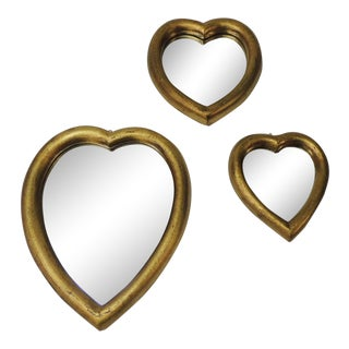 Set of Three (3) Florentine Gold Leaf Hearts Mirrors For Sale